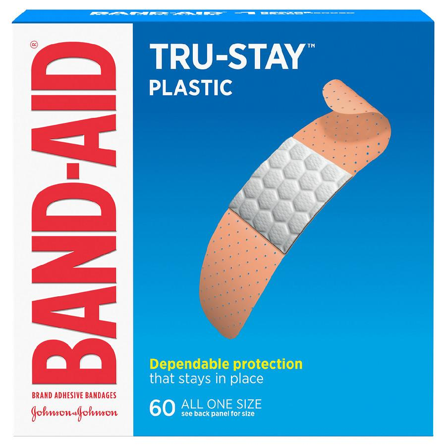 Band Aid Tru-Stay Plastic Strips Adhesive Bandages, All ...